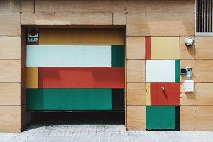 Multicolored wooden facade