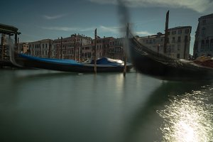 Two parked gondolas in Grand Canal