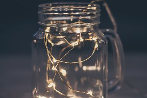 Garland with lights in mason jar.