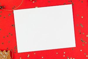 Christmas greeting postcard mockup w