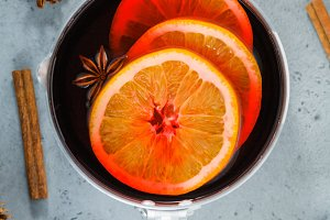 Top view on a pot with mulled wine