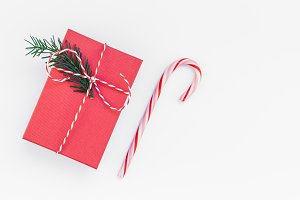 Christmas red present isolated on wh