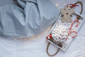 Christmas or New Year morning in bed