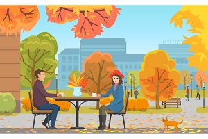 Autumn Park and Couple Drinking