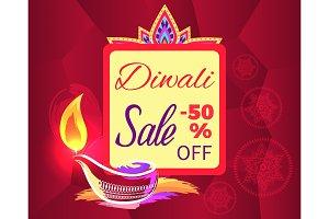 Diwali Sale -50% off Sign Vector
