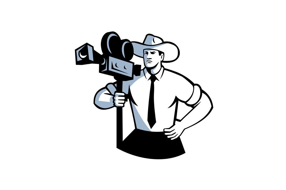 216b9659201 Cowboy Cameraman Vintage Movie Camer ~ Illustrations ~ Creative Market