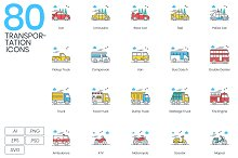 80 Transportation Modern Icons by  in Icons