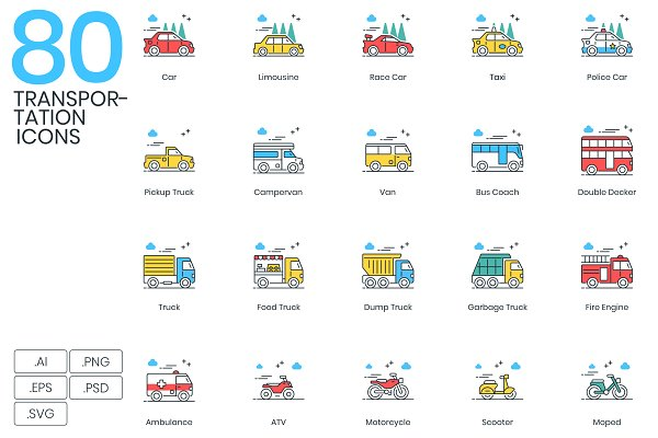 Icons: Flat Icons - 80 Transportation Modern Icons