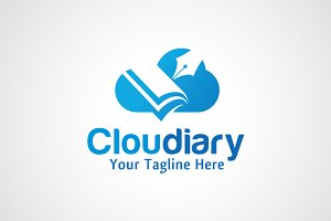 Cloud Diary - Book Logo Design