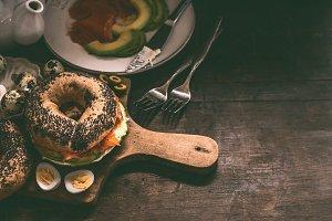 Bagel sandwich on cutting board