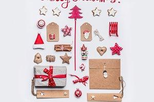 Merry Christmas card , flat lay