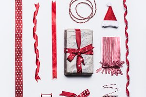 Christmas gift and packaging ribbons