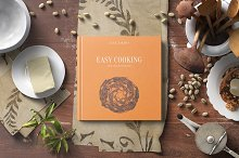 Square Hard Cover Cook Book Mockup by  in Product Mockups
