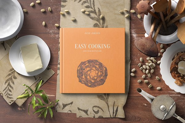 Product Mockups: professorinc - Square Hard Cover Cook Book Mockup