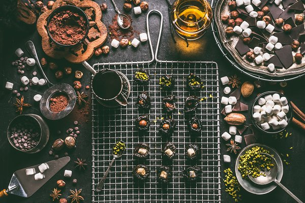 Food Stock Photos: VICUSCHKA - Homemade pralines preparation