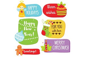 Christmas and New Year greeting tags