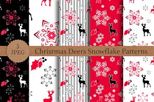 Christmas Deers and Snow Patterns