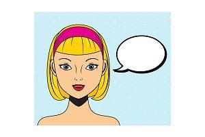 pop art woman with speech bubble
