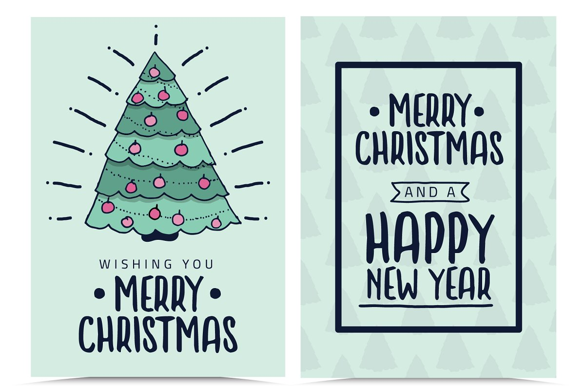 Merry Christmas Greeting Cards Illustrations Creative Market