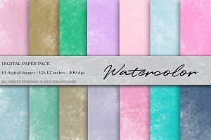Watercolor Digital Paper,Watercolor