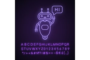 Chatbot saying hi neon light icon