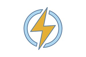 Electric power sign color icon