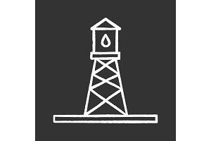 Oil rig chalk icon