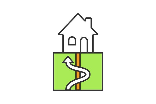 Geothermal energy color icon