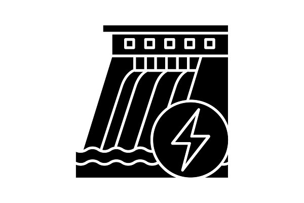 Hydroelectric dam glyph icon