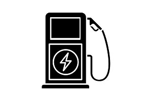 Vehicle charging station glyph icon