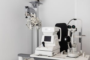 Optician's exam room with profession