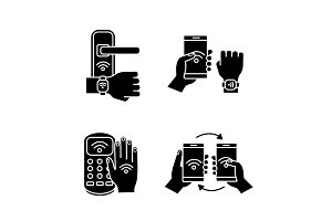 NFC technology glyph icons set