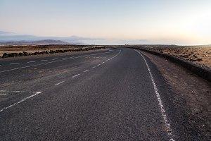 Desertic road in Fuerteventura at