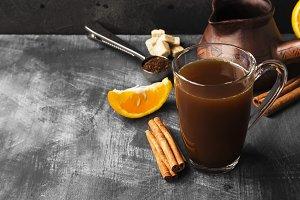 Autumn drink of coffee with orange j