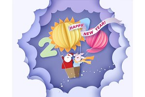 Happy New Year card. Color paper cut