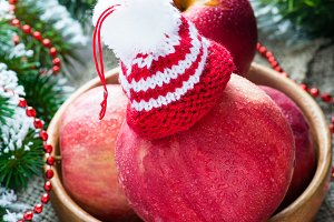 Red apples with hat