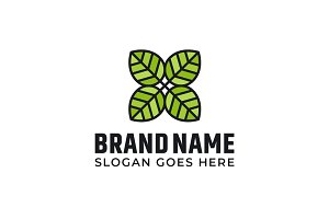 Green leaves logo design
