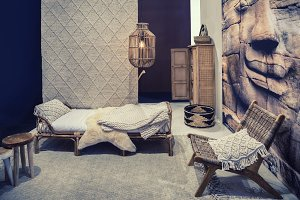 bed room with  textile elements