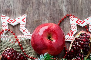 Pomegranate and apple, holiday card