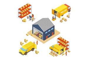 Logistics delivery isometric concept