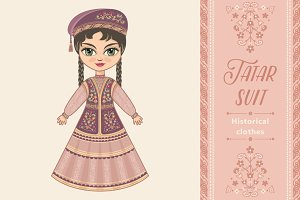The girl in Tatar dress.