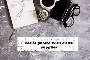 Set of photos with office supplies