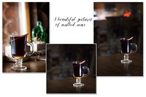 Mulled wine in a beautiful glass.