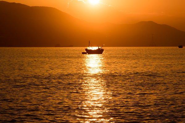 Fishing boat in sun