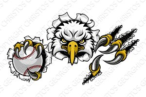 Eagle Baseball Cartoon Mascot