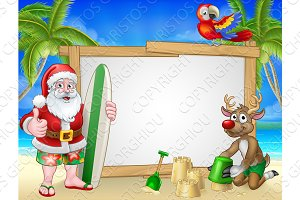 Santa Claus and Reindeer Surf Beach