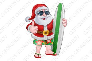 Cool Santa With Surfboard and