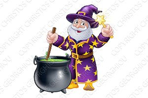 Wizard with Cauldron and Wand