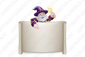 Wizard Cartoon Character Sign Scroll