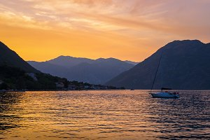 Sunset in Kotor Bay, Montenegro